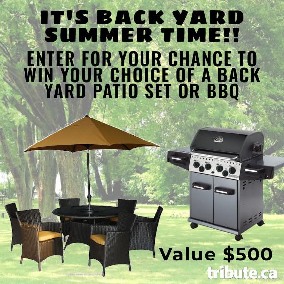 SUMMER BACK YARD PATIO SET OR BBQ Contest