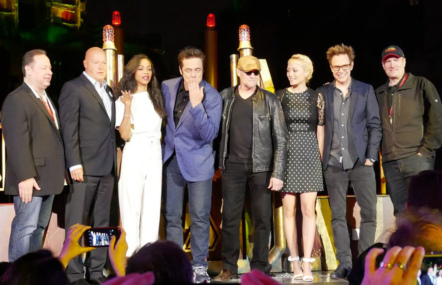 Marvel's Joe Quesada, Disney chairman Bob Chapek, Zoe Saldana, Benicio Del Toro, Michael Rooker, Pom Klementieff, director James Gunn and producer Kevin Feige