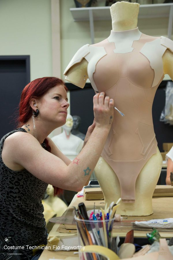 Flo Foxworthy works on Scarlett Johansson's costume