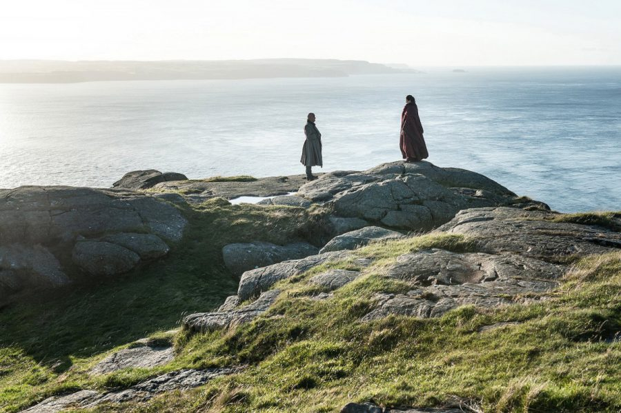 Varys and Melisandre on the cliffs outside Dragonstone