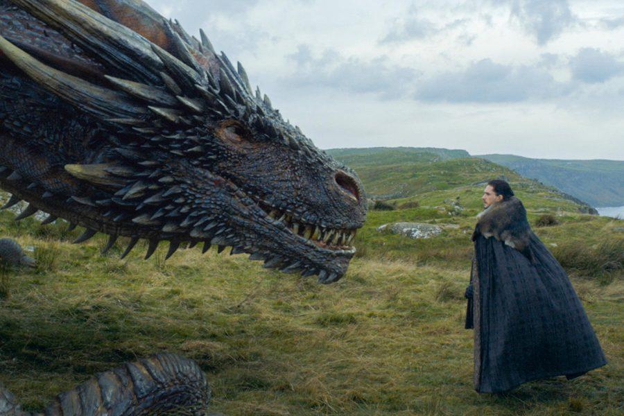 Drogon takes a liking to Jon Snow