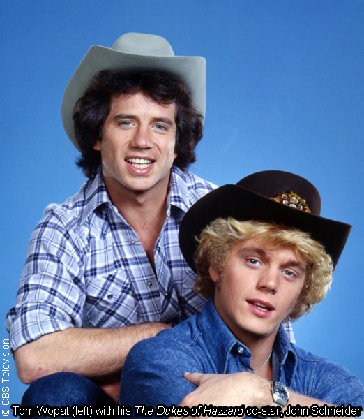Tom Wopat (left) on The Dukes of Hazzard with co-star John Schneider