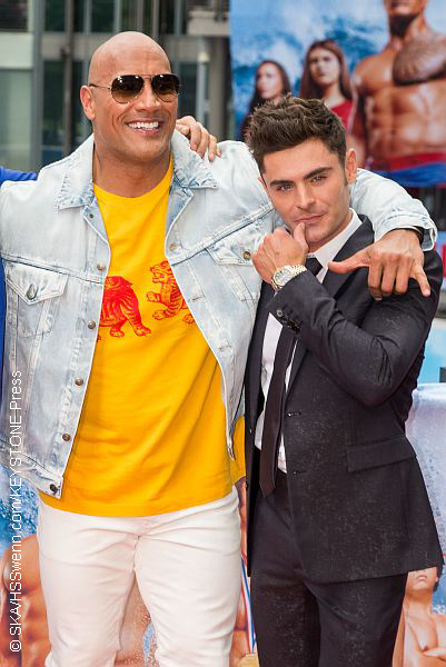 Dwayne Johnson and Zac Efron at Baywatch premiere