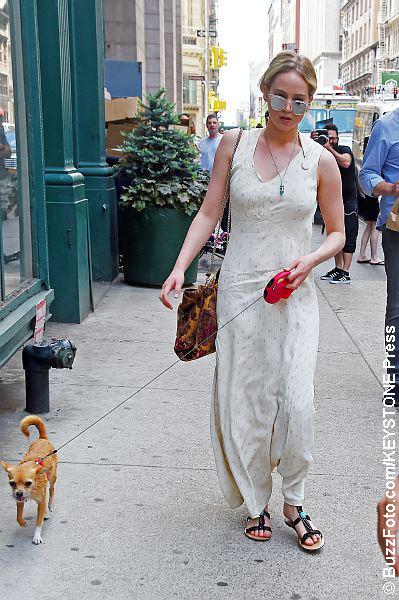 Jennifer Lawrence walking her dog in NYC