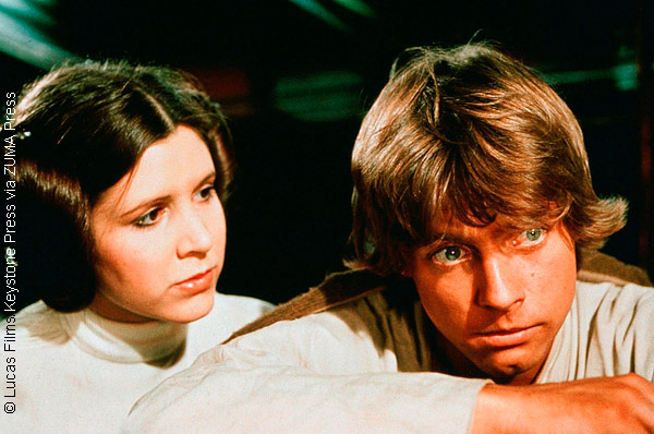 Carrie Fisher and Mark Hamill in Star Wars (1977)