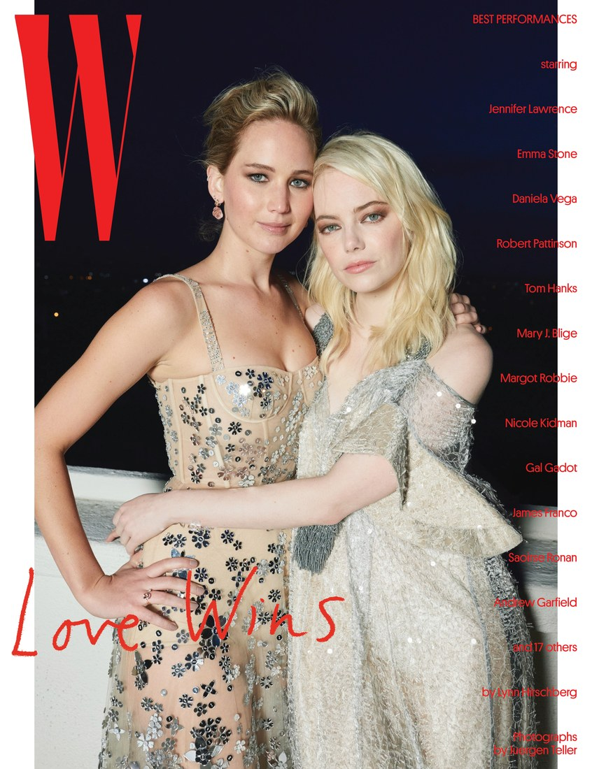 Jennifer Lawrence and Emma Stone on W Magazine cover