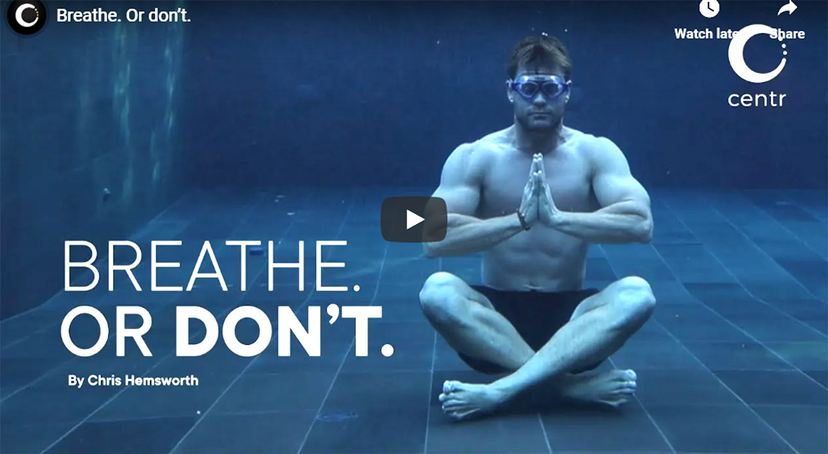 Chris Hemsworth Meditation video image courtesy centr YouTube